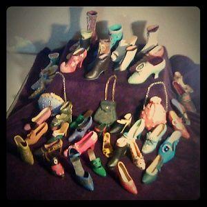 Other - 41 detailed porcelain shoes w/ 3 purses